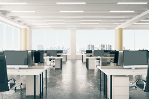 Open Office Space with excessive light brightness from LED lighting