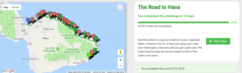Map of the route for The Road to Hana in the Yes.Fit app