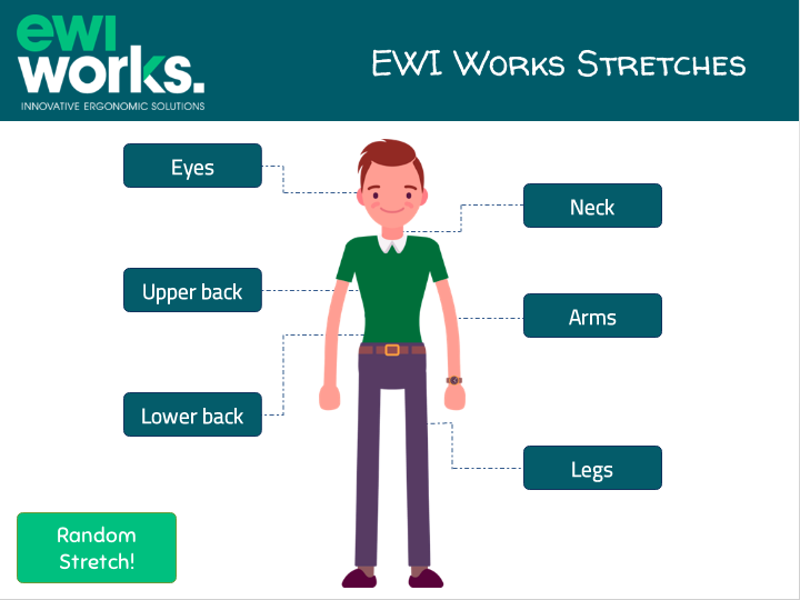 Desktop App for office stretches. Choose between eyes, neck, back, and legs