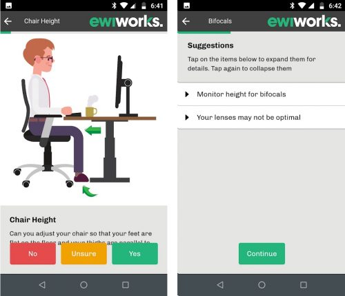 ErgoConnect, EWI Works Remote Ergonomic Assessment app screenshots