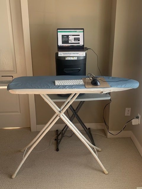 home office hacks, ironing board standing desk